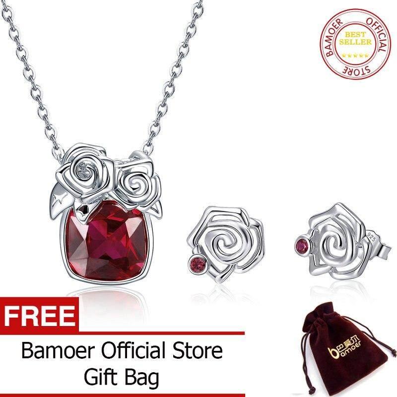BAMOER MẠ 100% Bạc 925 Đỏ Zirconia Hoa Hồng Hoa Nữ Dây Chuyền Bông Tai Bộ Trang Sức Mặt Dây Chuyền Trang Sức Bạc ZHS080 APR