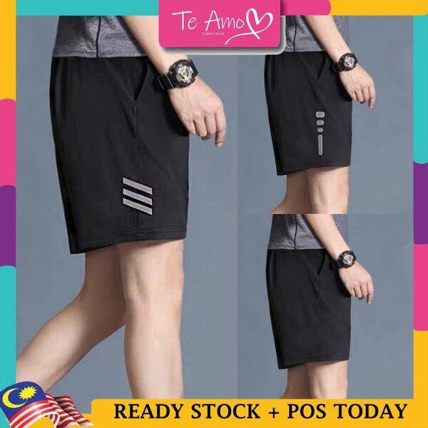 Ready Stockx L - 5XL(Up to 42 ) Dri-Fit Seluar Sukan Lelaki Glow-in-dark Night Run Cooling Light Mens Sportwear Shorts