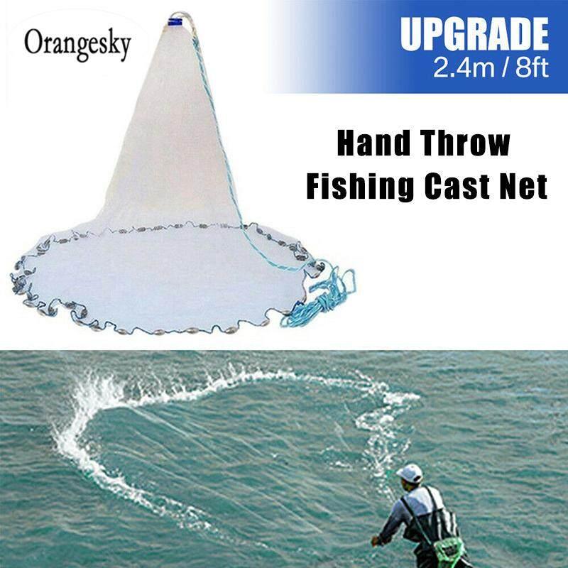 8//12//16FT Full Spread Mesh Wire Hand Throw Cast Fishing Net Spin Bait Sinker Hot