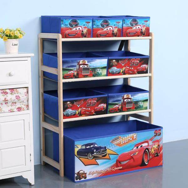 RuYiYu - 64 X 80 X 28cm, 4 Layers Kids Toy Organizer and Storage Bins, Non-woven Fabric Drawers in cartoon Pattern, Toy Storage Rack, Natural/Primary