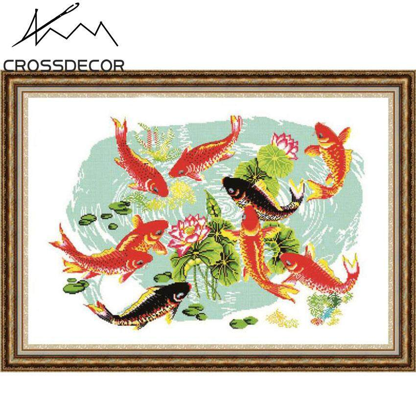 Night Fishes Play With Lotus CrossDecor Precise Stamped Cross-Stitch Set Pattern Pre-Printed On the Cloth DIY Handmade Embroidery Needlework 11CT DMC Complete Kits  Home Room Hallway Decor