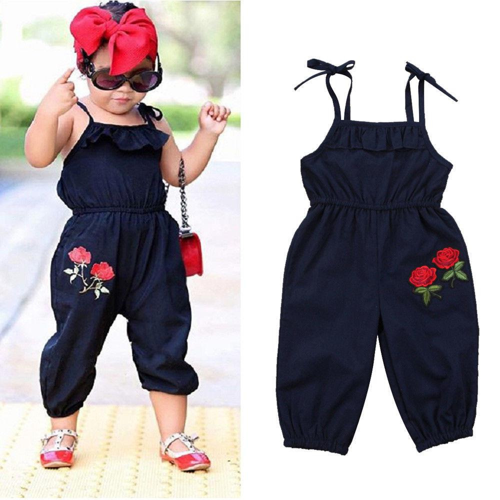 d5fabc8ac70 Hot Toddler Kids Girls Strap Flower Romper Jumpsuit Playsuit Outfit Clothes  1-6Y