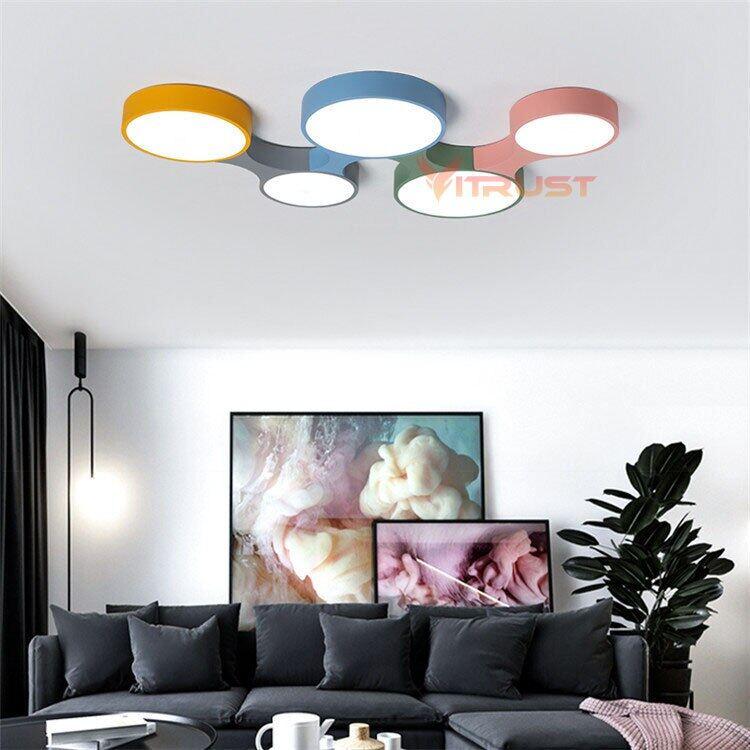 Lampu Plafon Nordik Lampu LED Modern Warna-warni untuk Anak-anak Laki-laki Perempuan Kamar Tidur Lampu Langit-langit Bulat Tipis Lampu Langit-langit
