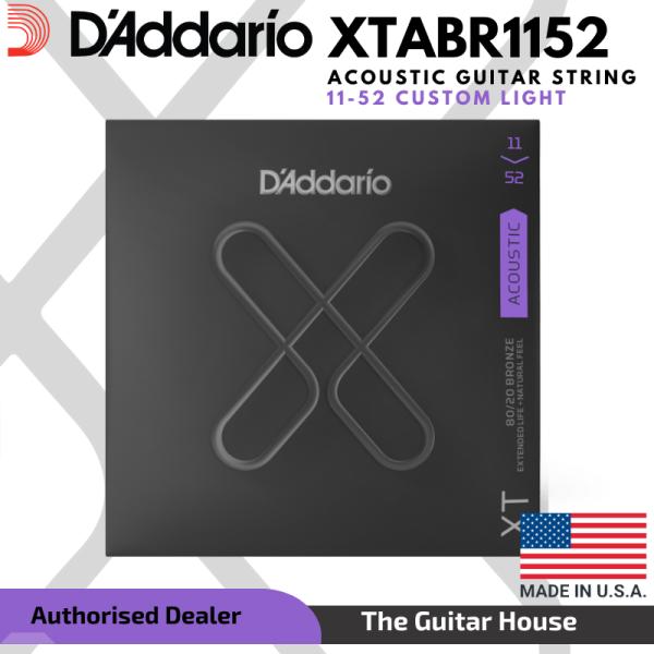 DAddario XTABR1152 XT Series 80/20 Bronze Acoustic Guitar String Set, 11-52, Custom Light (Daddario) Malaysia
