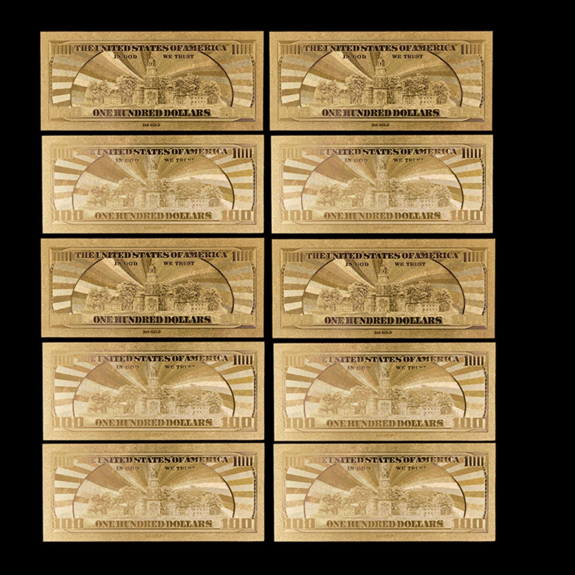 Jettingbuy 10pcs Us$100 Dollar 24k Gold Foil Golden Usd Paper Money  Banknotes Collections