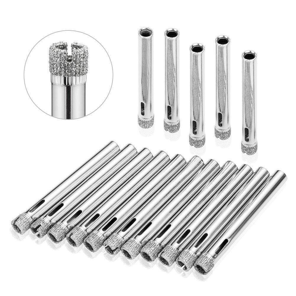 Glass Drill Hole Saw 15 Pieces Diamond Hole Saw Diamond Drill Remover Tools Hollow Core Tile Drill for Glass, Ceramic, Granite Stone Drill 6-50mm Tile Drill 6mm