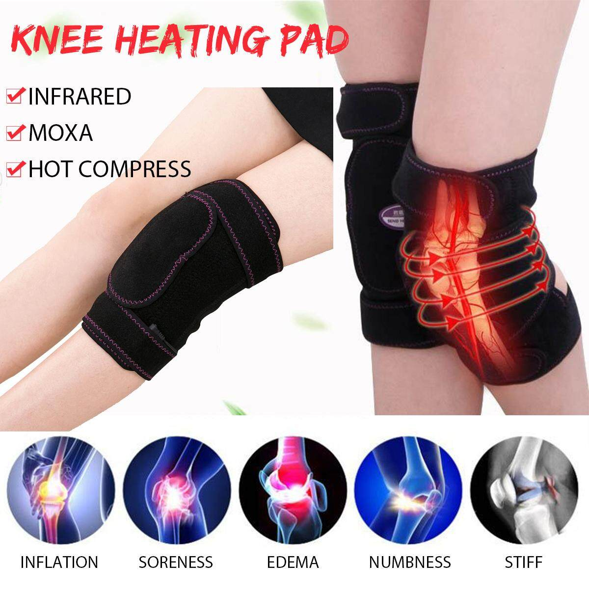 dca038adc9 Knee Heating Pad Thermal Heated Therapy Wrap Support Brace Arthritis Pain  Relief