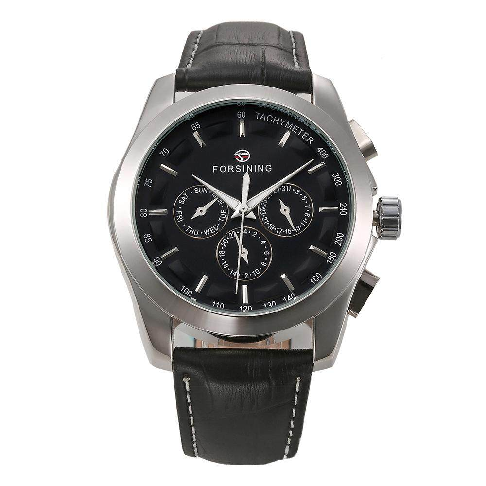 Forsining Fashion Men's Watches Leather Band Noctilucent Mechanical Movement Waterproof Sports Business Analog Dial Wrist Watch for Men