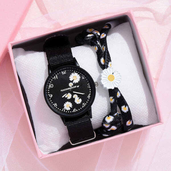 SWS♛【LazChoice】【Kids Watch Girl】Fashion Simple Daisy Pattern Canvas Strap Quartz Watch Couple Girlfriends Women Student Malaysia