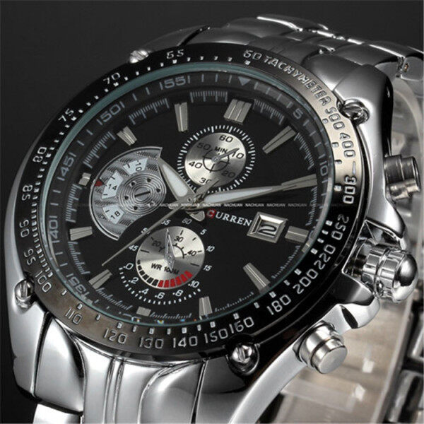 Ready Stock 8083 Curren 8103 Men watch 3ATM Waterproof Quartz Stainless Steel Band watch for men Watch with free box Malaysia