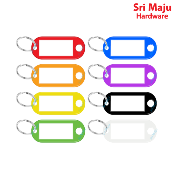 MAJU 8 Color ID Identification Key Ring with Label Tag Plastic Chain Tags for Car Home House Hotel Luggage Number (1s)