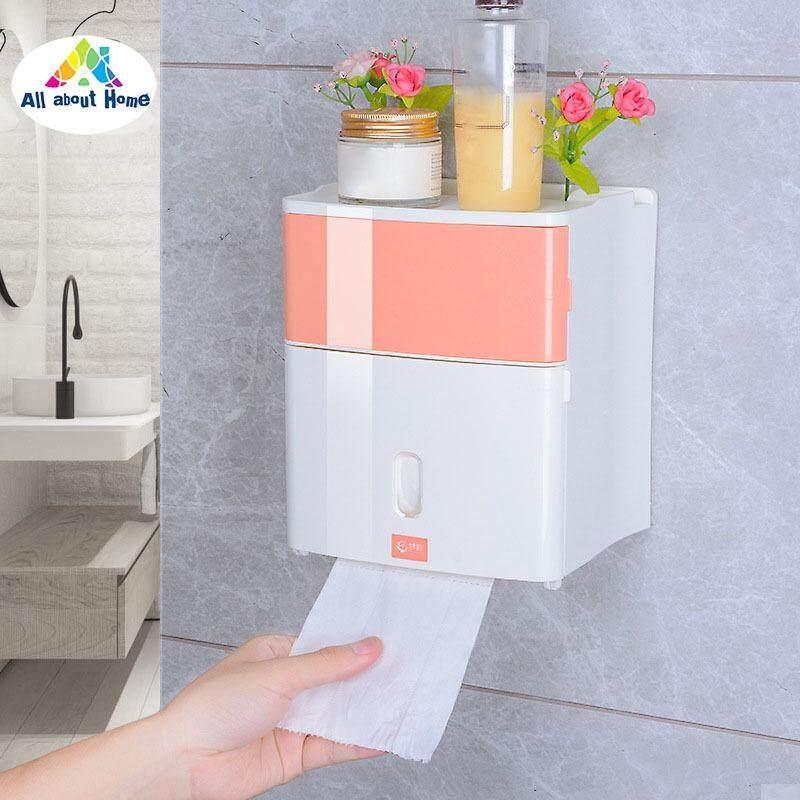 Abh สองชั้นกล่องเก็บของในห้องน้ำกระดาษชำระผ้าเช็ดปาก Storage By All About Home.