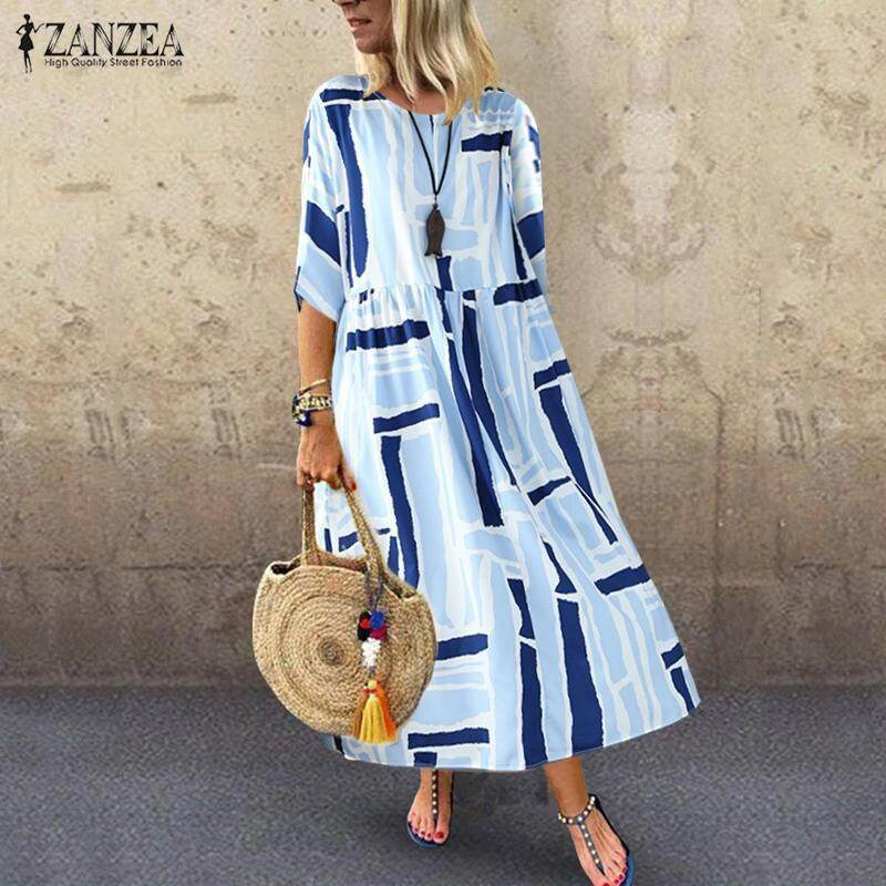 4f8e2f9d8536c9 ZANZEA Women Plus Size 3/4 Sleeve Casual Long Maxi Dress Kaftan Shirt Dress