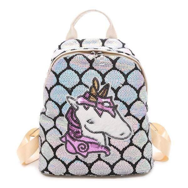 Sequins Women School Backpack Glitter Cute Cartoon Girl Travel Shoulder Bag