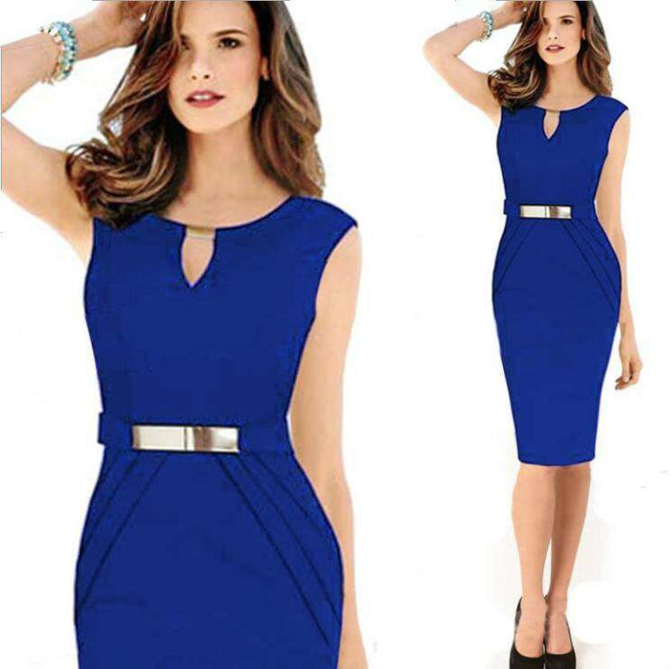 7763fc42a3f liva girl Womens Elegant Sleeveless Belted Wear To Work Office Business Party  Casual Summer Bodycon Slim
