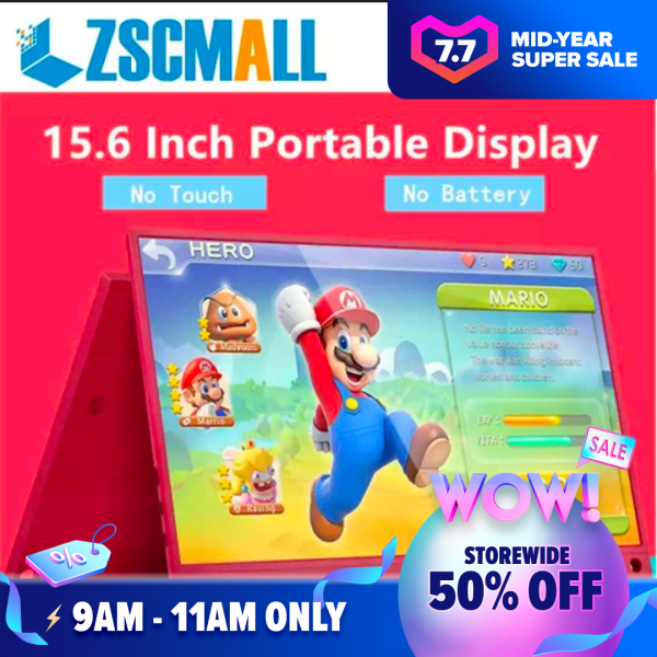 ZSCMALL Touch Screen Monitor 15.6 USB Type-C Full HD 1080 IPS USB C Portable Monitor Built-in Dual Speakers and Battery Compatible with Laptop Computer Raspberry pi Gaming Monitor for PS4 PS3 Xbox Free Shipping Malaysia