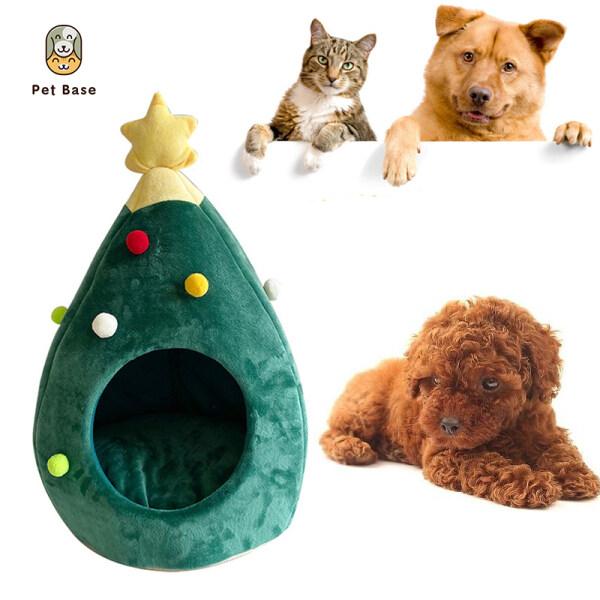 Nhà Thú Cưng Nai Sừng Tấm Cây Giáng Sinh, Nhà Mèo Mềm Bán Kín Giường Cũi Cho Chó Mèo