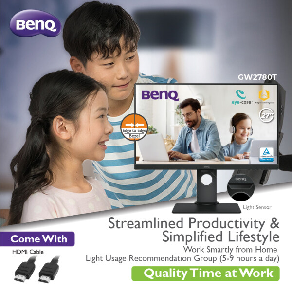 BenQ GW2780T 27-Inch Height Adjustable Eye-Care FHD IPS Monitor with Brightness Intelligence & Built-in Speaker Malaysia