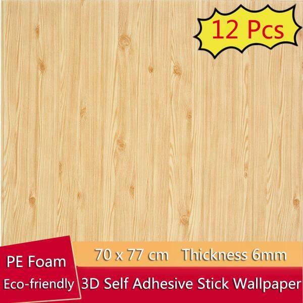 12 PCS/Set 70x70cm 3D Wood Waterproof Wallpaper Wall affixed to the TV background Living Room Wall Decorated Bedroom