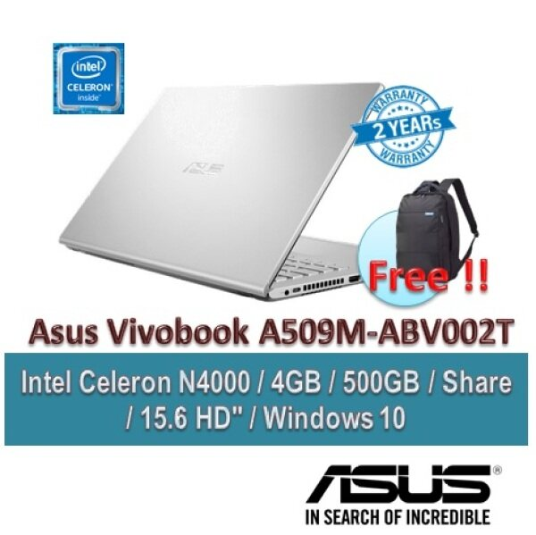 ASUS Laptop Vivobook A509M-ABR002T 15.6inch Transparent Silver (N4000/4GB/500GB/15.6 HD /W10/2YR) + BACKPACK Malaysia