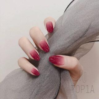 24 Cái Đinh Có Keo, Phủ Toàn Bộ Móng Giả Màu Gradient Thiết Kế Màu Hồng Đỏ Nhân Tạo Máy Ép Móng Tay Giả Trên Đầu Móng Tay Đầu Móng Tay Nghệ Thuật Ngắn thumbnail