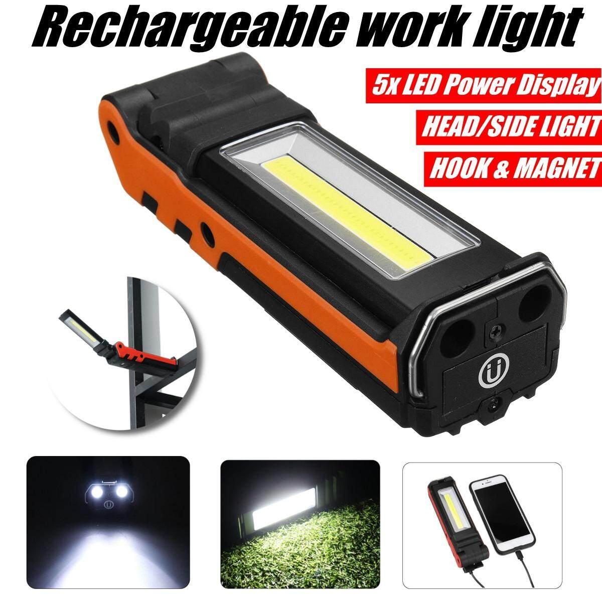 【free Shipping + Flash Deal】2led+cob 400lm Usb Rechargeable Foldable Car Maintenance Light Work Light Led Flashlight 2*18650 By Freebang.