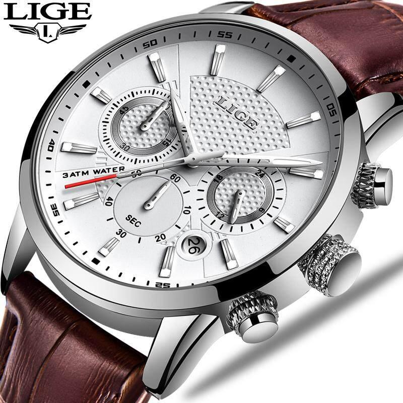 LIGE Men Watch Fashion Chronograph Leather Waterproof Luminous Analog Quartz Jam Tangan Lelaki Malaysia
