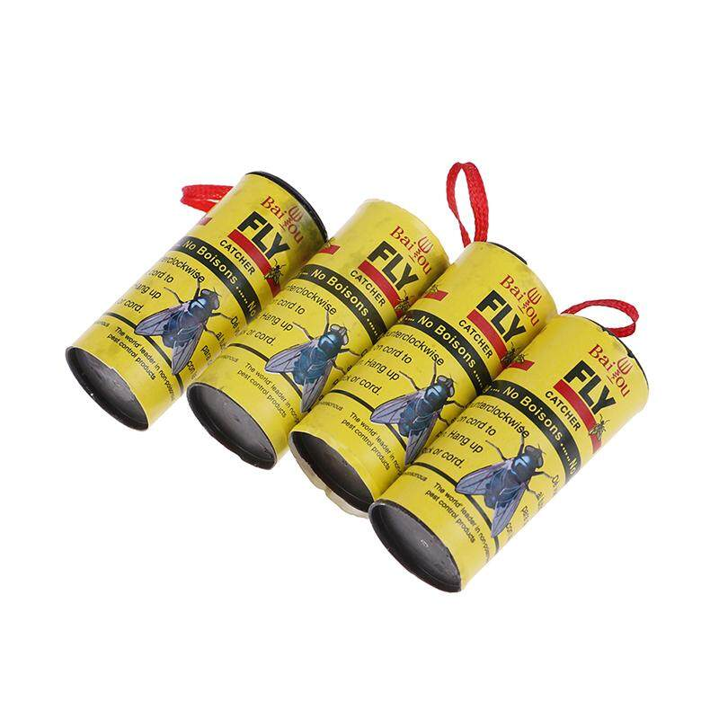 Sissi 4 Rolls Insect Bug Fly Glue Paper Catcher Trap Ribbon Tape Strip Sticky Flies