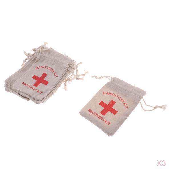 Loviver 30pcs Hangover Kit Bags Bachelorette Party First Aid Bags Muslin Favors Bag