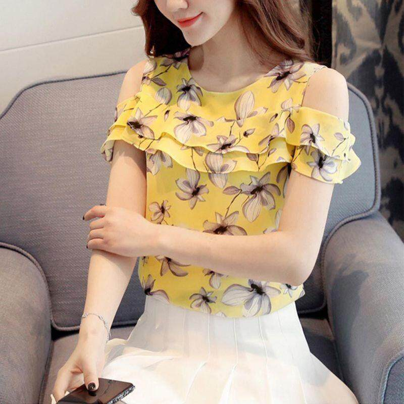 66844d7d1b9 Women Off Shoulder Short Sleeve Blouses Print Floral Chiffon Shirts Casual  Ladies Clothing Female Women Tops