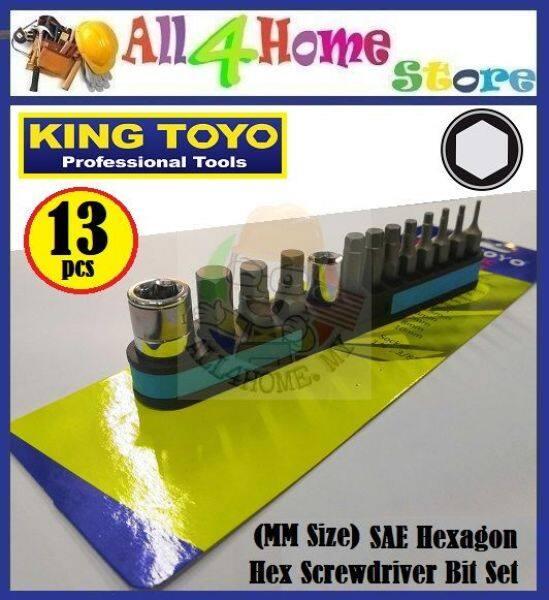 KINGTOYO 13pcs SAE Hexagon Hex Screwdriver Bit Set (MM Size)