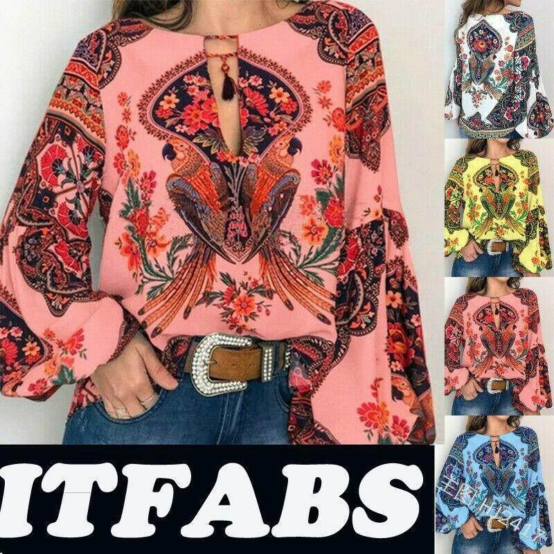 Women Boho Floral V-Neck Long Lantern Sleeve Oversize Blouse T Shirt Tops S-3XL