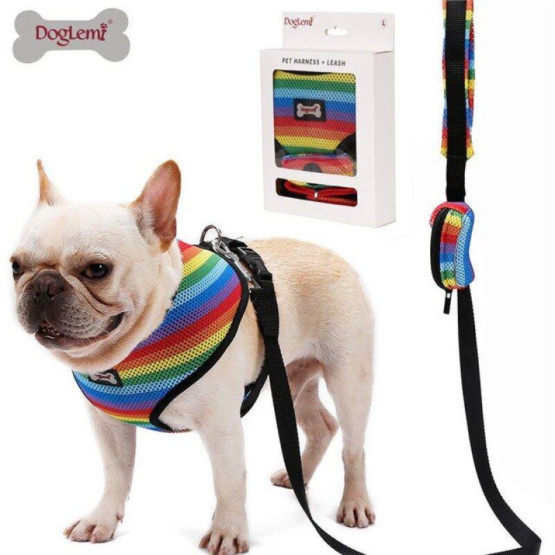 Bộ Dây Xích Chó Với Túi Poop Mềm Mại Thoáng Khí Cầu Vồng Lưới Pháp Bulldog Vest Điều Chỉnh Chạy Bộ Dây Xích Thú Cưng SP