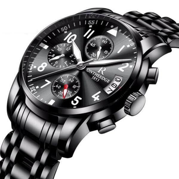 ONTHEEDGE Casual Luxury Business Men Chronograph Watch Jam Tangan Lelaki Original Fashion Waterproof Quartz Stainless Steel Watches for Men Malaysia