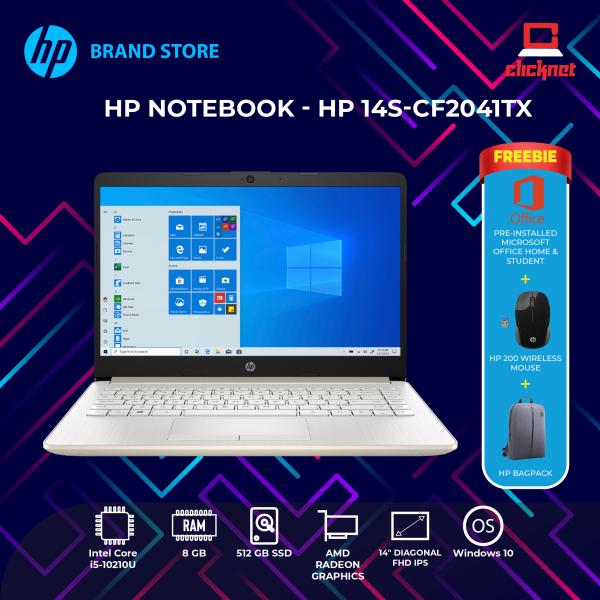 HP 14s-cf2041TX 14 Laptop/ Notebook (i5-10210U, 8GB, 512GB, AMD 530, W10H, Off H&S) Malaysia