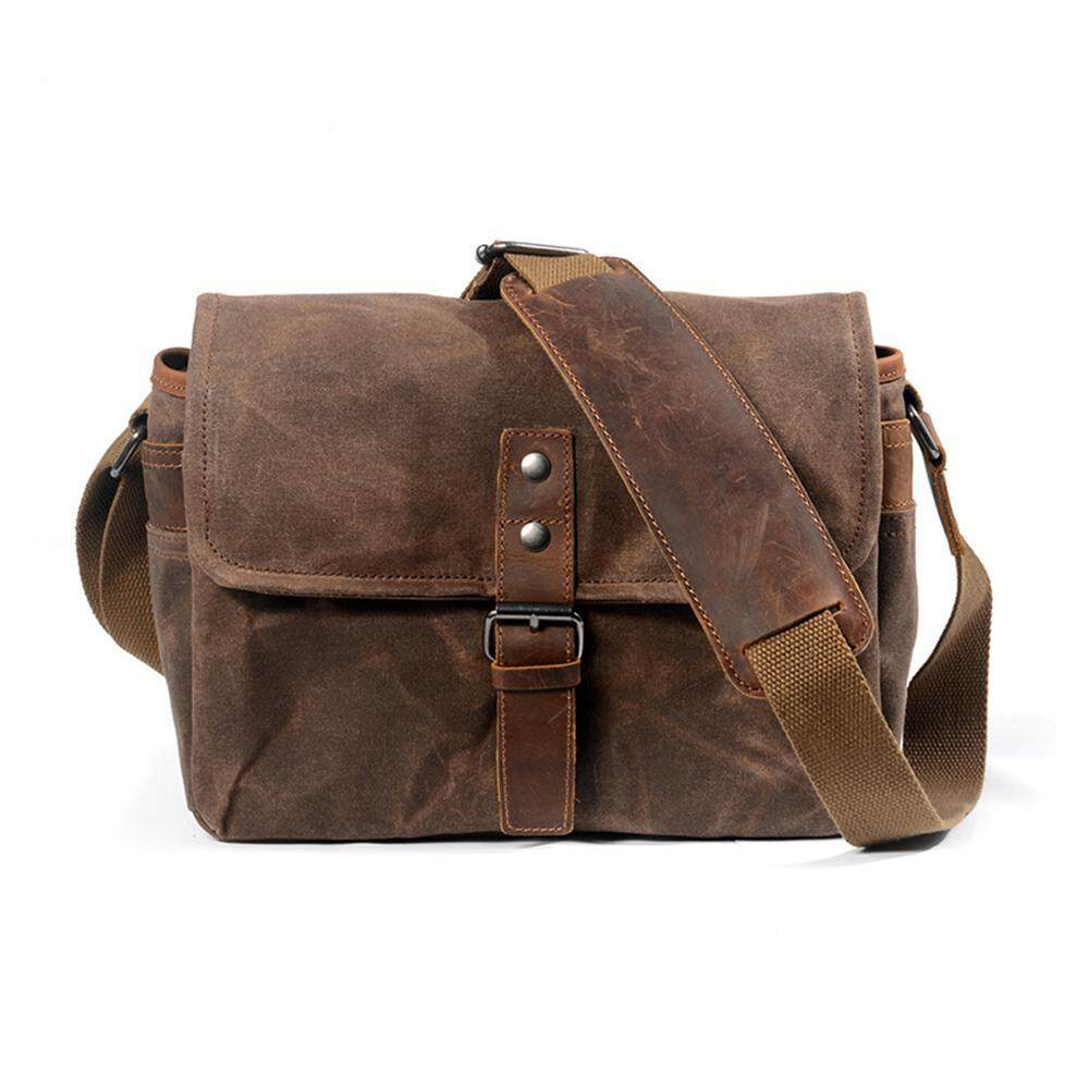 492bea88bbde Aolvo Oil Wax Canvas Camera Bag Vintage DSLR SLR Messenger Shoulder Bag  Outdoor Photography Bag Waterproof