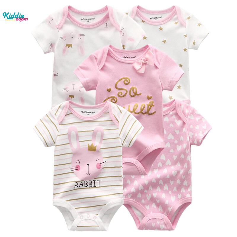 5 Bộ áo liền quần Kiddiezoom 100% cotton thời trang cho trẻ sơ sinh 0-12 tháng tuổi - INTL