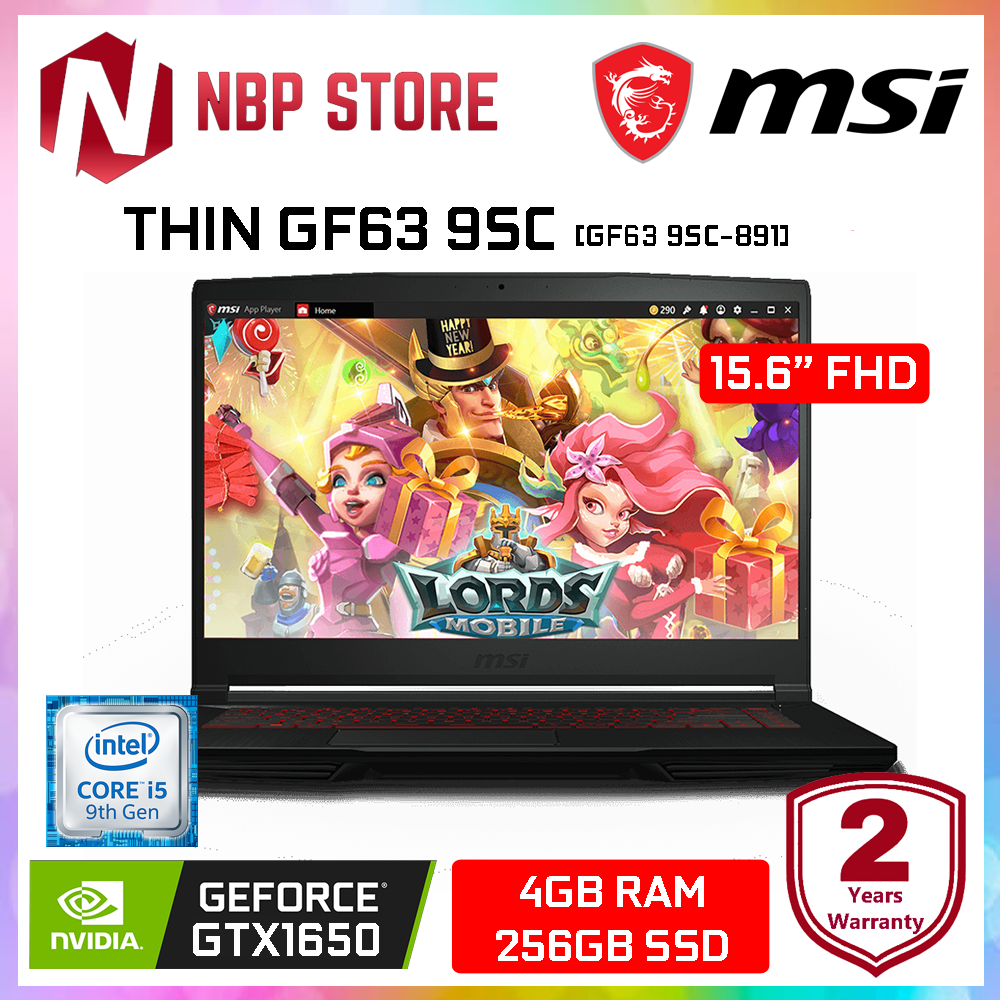 MSI THIN GF63 9SC-891 15.6  FHD IPS Gaming Laptop Black ( i5-9300H, 4GB, 256GB SSD, GTX 1650 4GB, W10 ) Malaysia