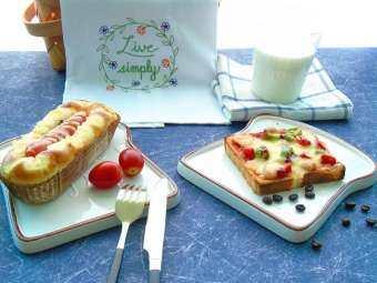 จิ่งเต๋อเจิ้น Good Day สีครีมถาดขนมปังหั่นแผ่นขนมปังปิ้งเคลือบดินเผาเรียบง่ายถาดอาหารเช้าขนมจานขนม
