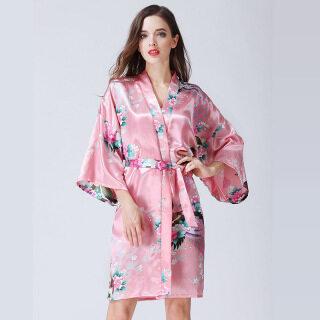 Áo Choàng Lụa Sa Tanh Nữ XH Đồ Ngủ Hoa Kimono Ngắn In Hình Con Công Đồ Ngủ Phù Dâu Đám Cưới Áo Choàng Tắm thumbnail