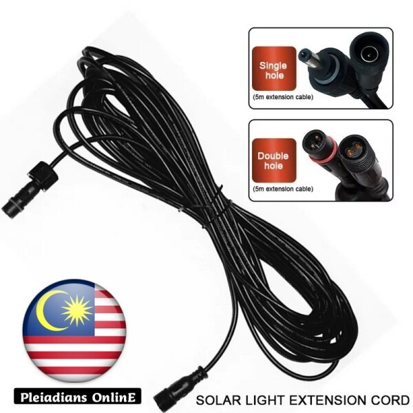 👉READY STOCK👉🇲🇾 Hot Sale LED Solar Light Extension Cable 5 Meter Connector Waterproof Power Cord Male Female Lamp Pelita