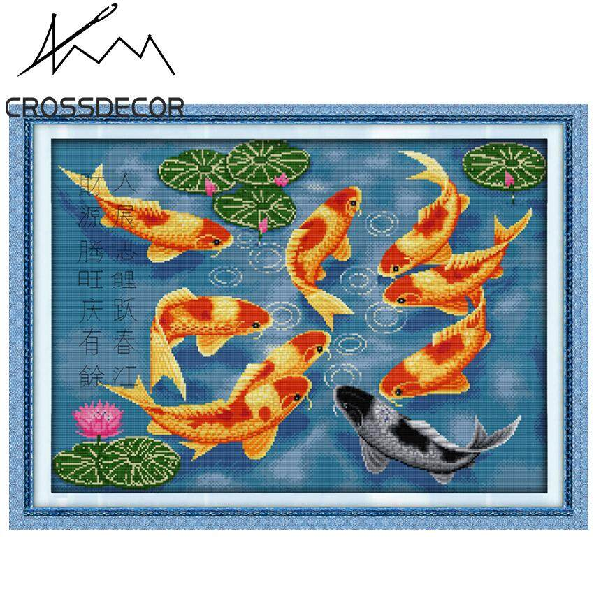 Hot Sale  Surplus Year After Year 8 Nine Fishes Chinese Style Precise Stamped Cross-Stitch Complete Set DIY Handmade Embroidery Needlework 11CT Pre-Printed On the Cloth Home Room Decor DMC Complete Kits