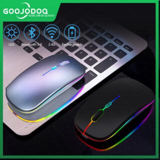 Goojodoq Chuột Không Dây 2 Trong 1 Chuột Bluetooth Có Thể Sạc Lại Và Chuột Chơi Game Có Đèn Nền Nhiều Màu Đèn LED Im Lặng Siêu Mỏng 2.4G, Cho Máy Tính iPad Máy Tính Xách Tay Máy Tính thumbnail