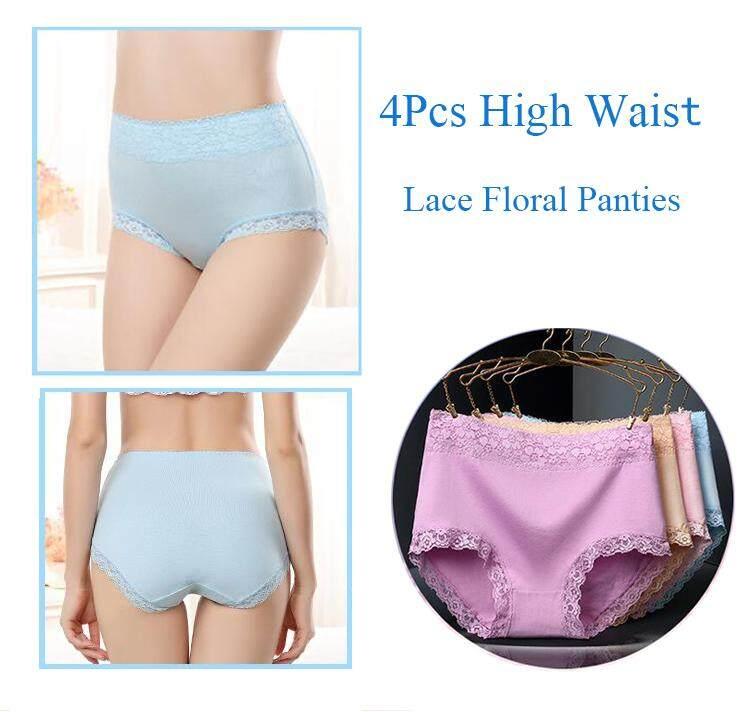 d204a01e99fd Product details of (4Pcs/lot) Women's Lace Underwear Comfortable Cotton  High Waist Briefs Women Sexy Body Shaper Panties Plus Size