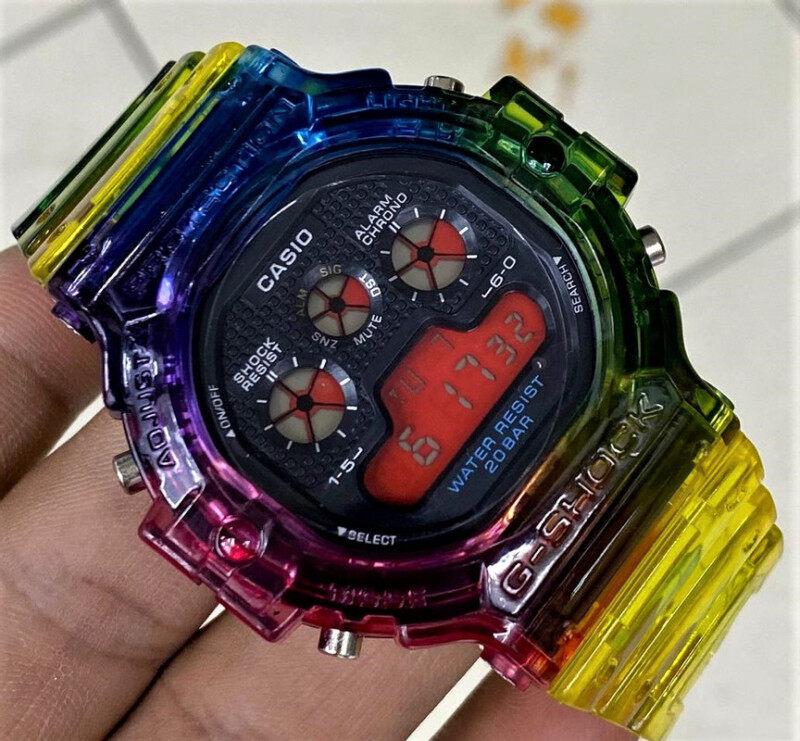 Multi Colors G_Shock_Tapak Kucing Kuning DW 5900 (Cermin Kaca) Skali Tin Gift Box 43mm Water Resistant Malaysia