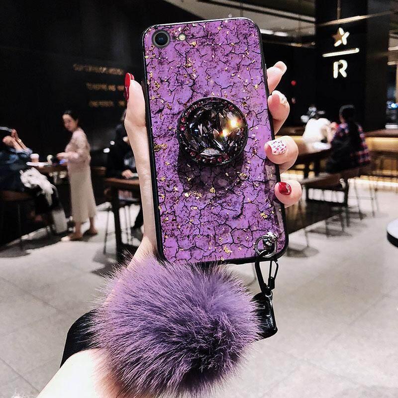 Vivo Y81 Y81i Y83 Case Mewah Fashion Wanita Lady Ponsel Case S Berlian Imitasi Berdiri Rambut Bola Lembut Hijau Ungu gadis Perumahan untuk Vivo Y 81 Y 81i Y 83