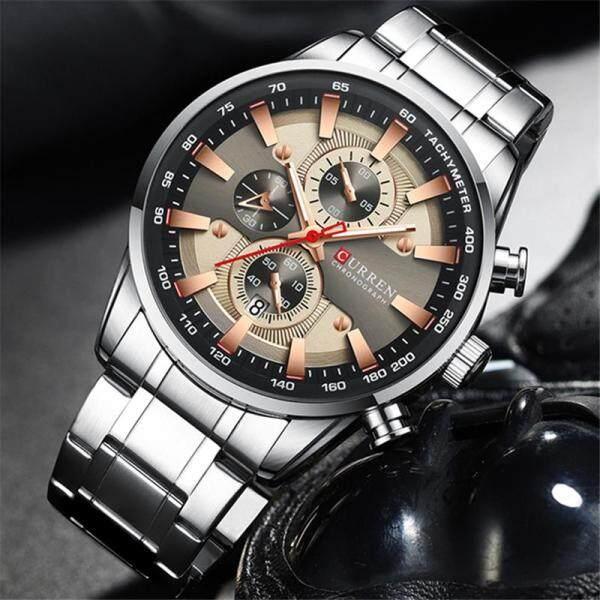 CURREN Brand Fashion Mens Quartz Watches Men Business Full Steel Chronograph Watch Casual Sport Waterproof Automatic Date Clock Malaysia