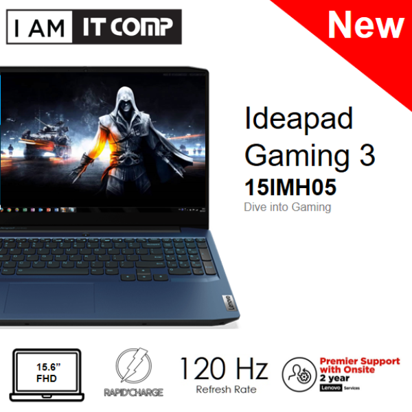 Lenovo IdeaPad Gaming 3 15IMH05 81Y400VKMJ 15.6 Laptop Blue (I5-10300H/8GB/512GB SSD/GTX1650Ti DDR64GB/W10) FOC WIRELESS MOUSE Malaysia