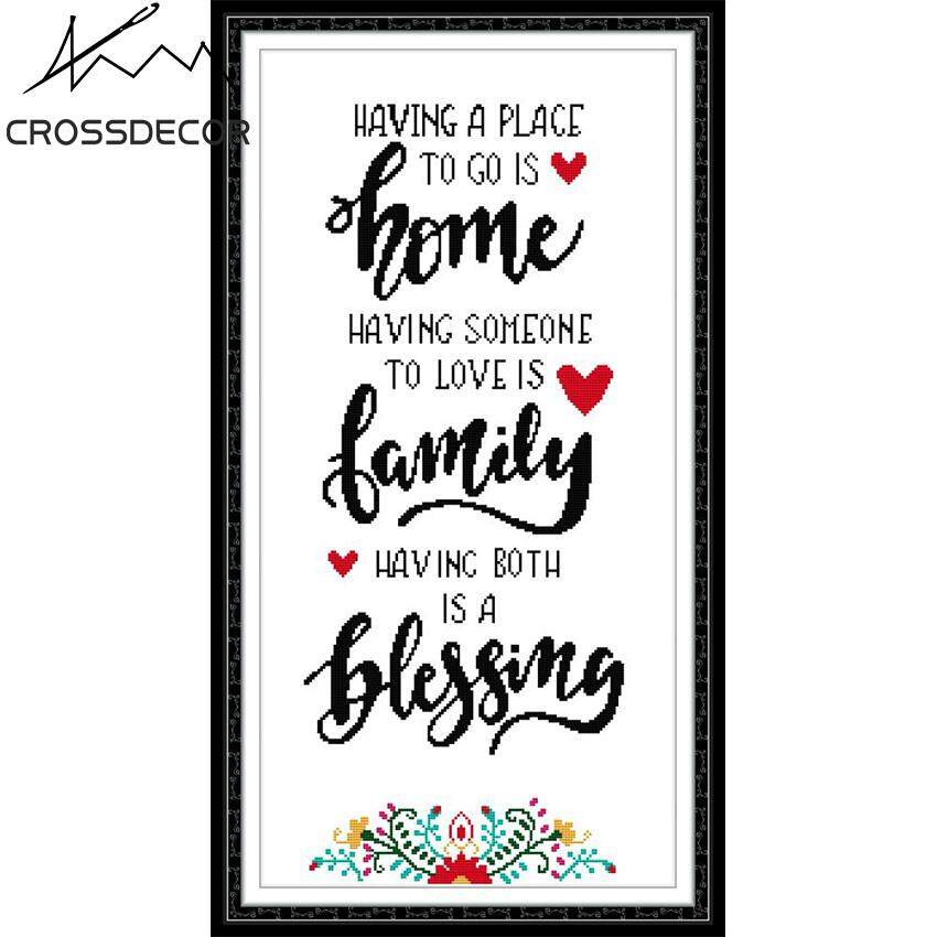 New Arrival Happy Family CrossDecor Stamped Cross Stitch Complete Set 11CT DIY Handmade Embroider Needlework DMC Complete Kits Pattern Pre-Printed On the Cloth Home Room Decor