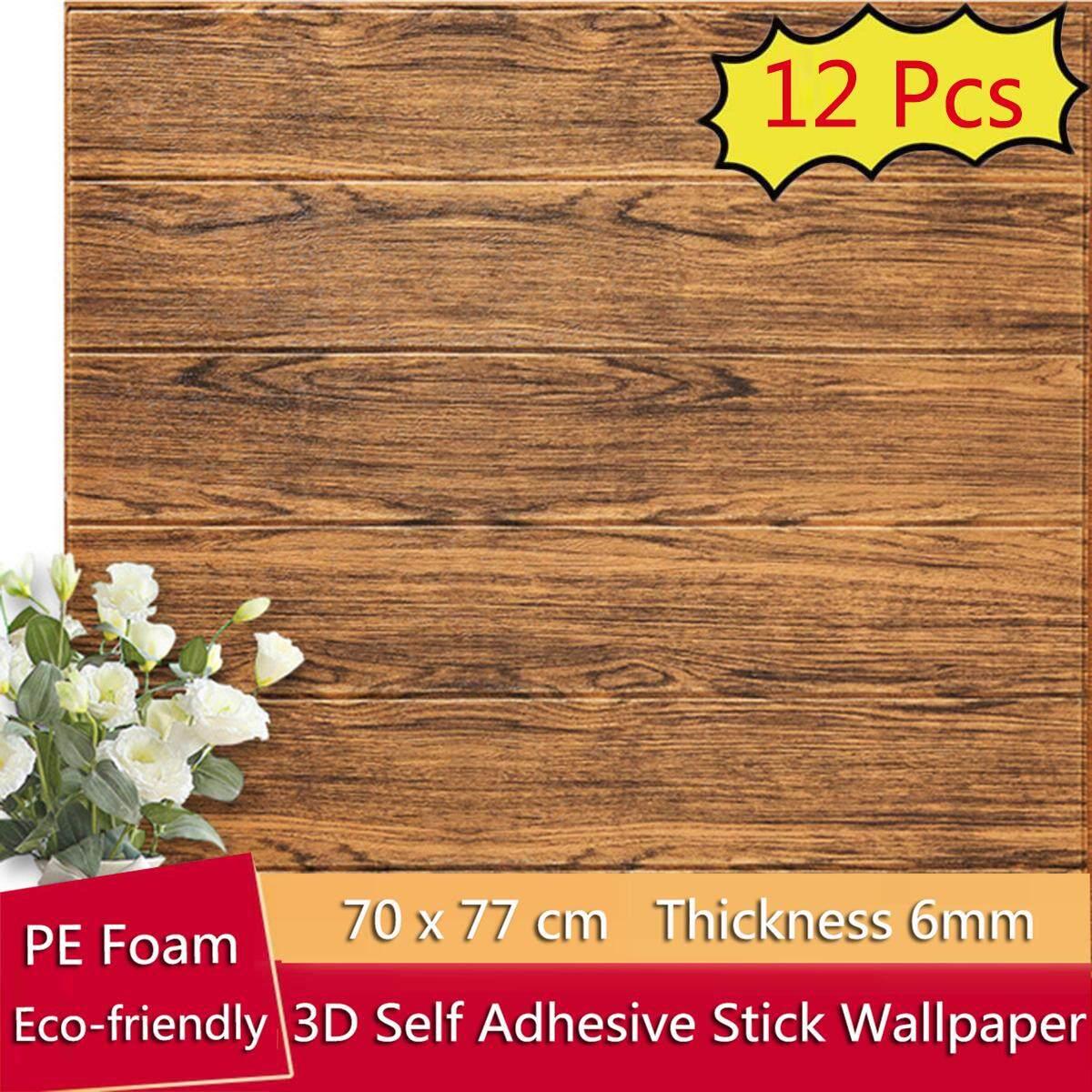 12 PCS/Set 3D wood grain wallpaper, 70 * 70 size, wall mounted brick pattern, 3D brick wall wallpaper, decorated with sponge [3D Wallpaper]